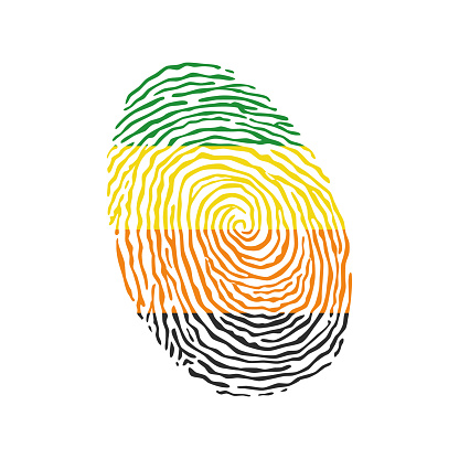 Fingerprint vector colored with the Aromantic pride flag isolated on white background Vector Illustration