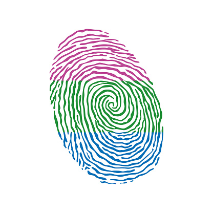 Fingerprint vector colored with the Polysexual pride flag isolated on white background Vector Illustration