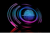 Fingerprint with concept abstract technology background light realistic