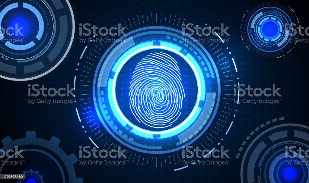 Fingerprint With Concept Blue Abstract Technology