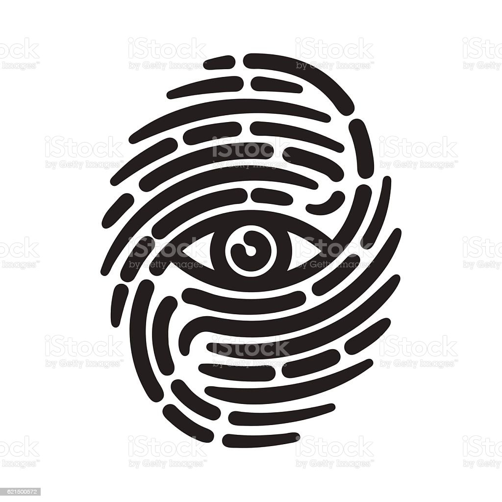 Fingerprint with eye fingerprint with eye - immagini vettoriali stock e altre immagini di illustrazione royalty-free
