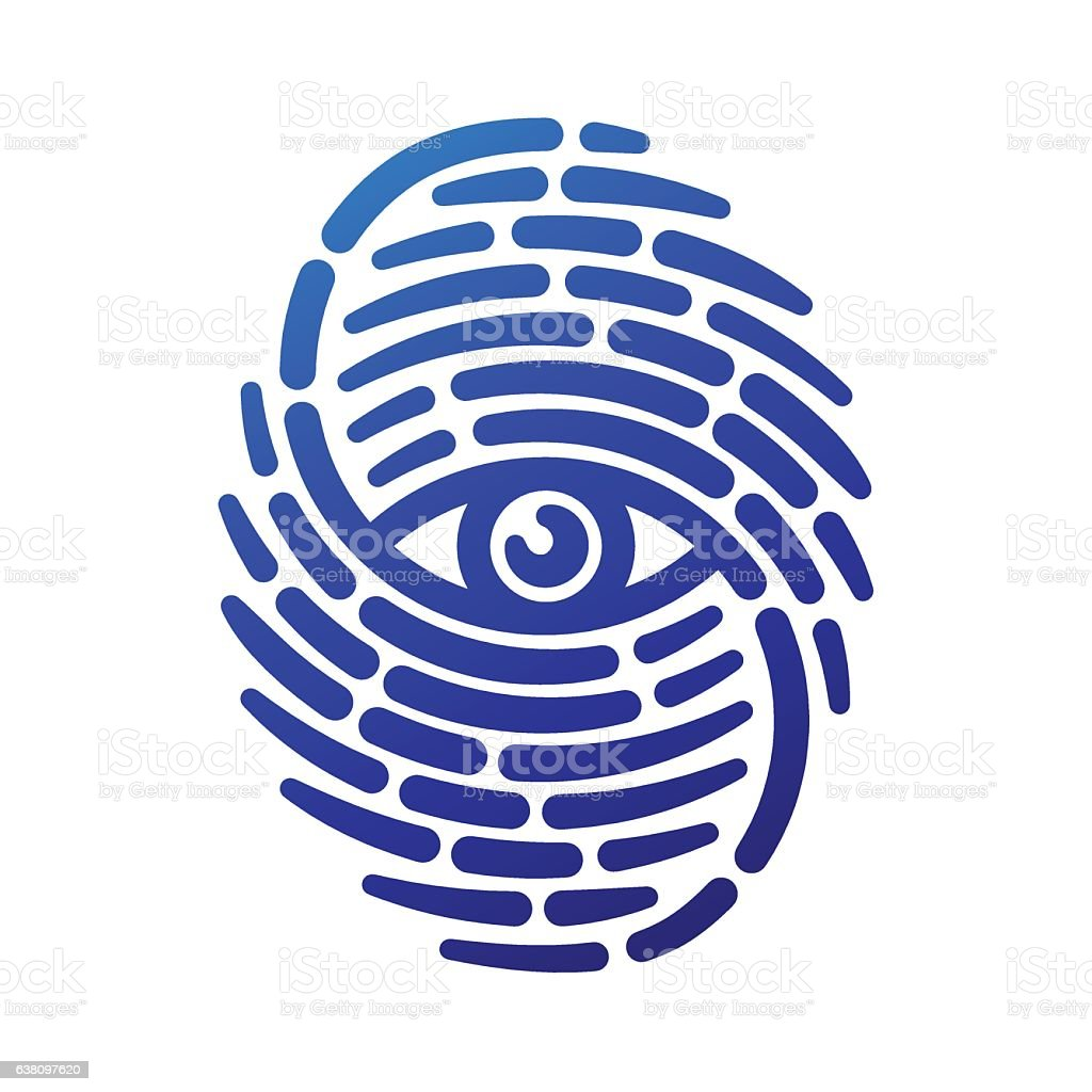 Fingerprint with eye vector art illustration
