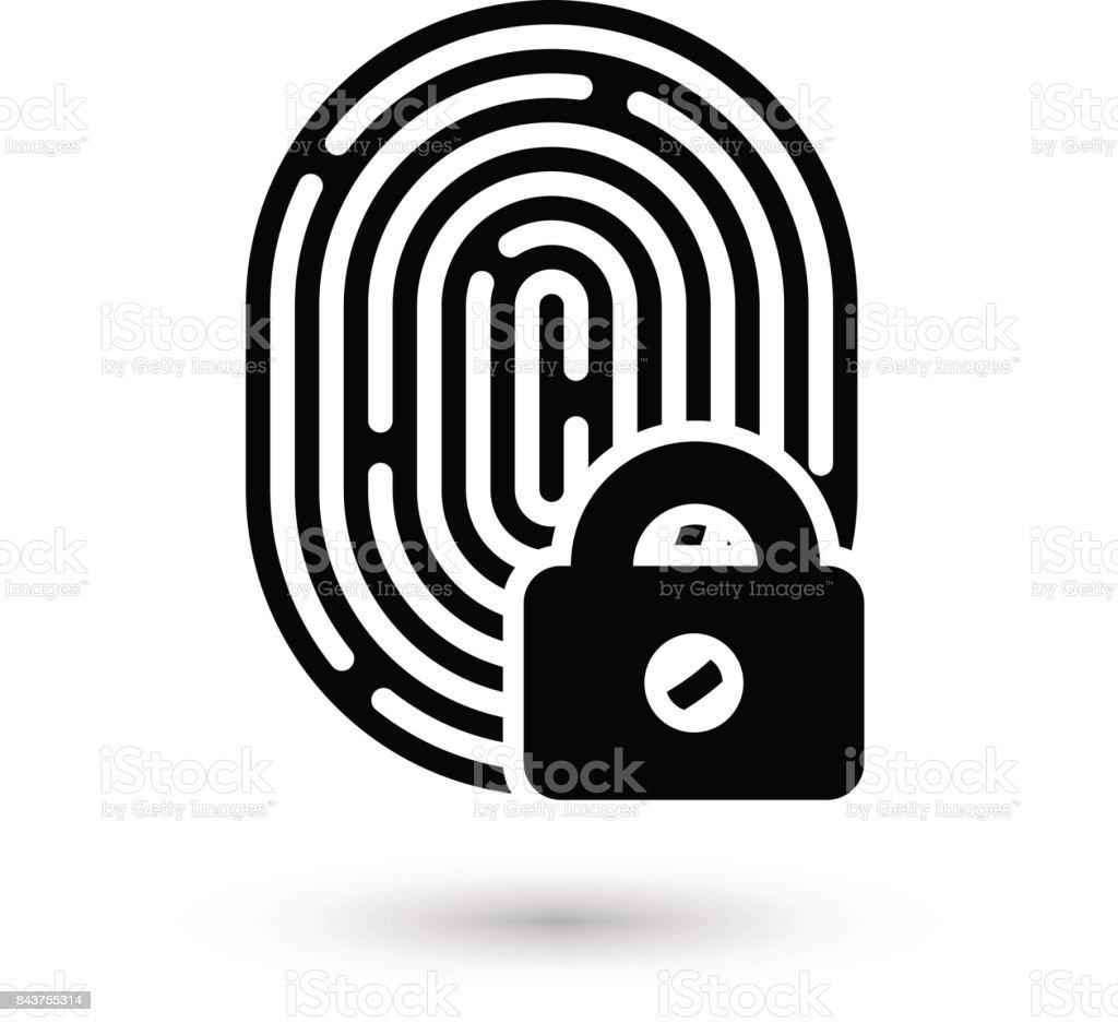 Fingerprint with lock linear icon vector art illustration