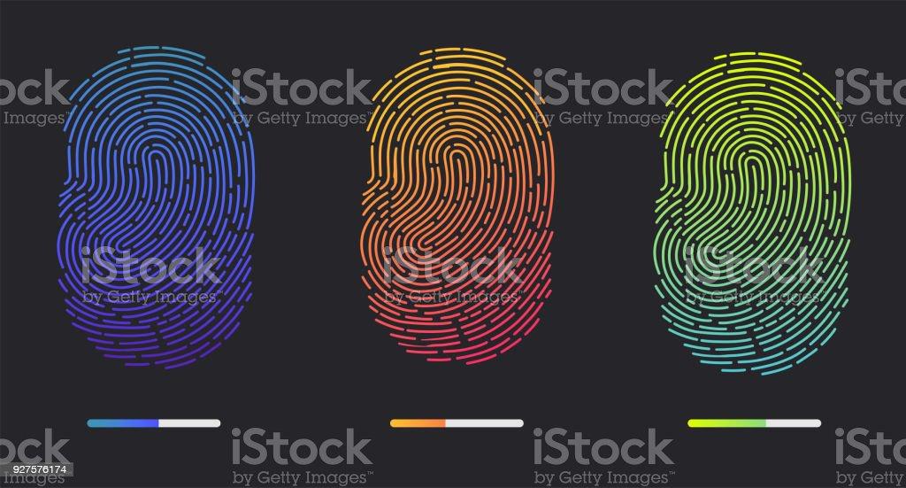 Fingerprints of different colors vector art illustration