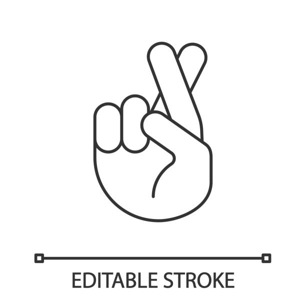 Fingers crossed emoji linear icon Fingers crossed emoji linear icon. Thin line illustration. Luck, superstition hand gesture. Hand with middle and index fingers crossed. Contour symbol. Vector isolated outline drawing. Editable stroke dishonesty stock illustrations