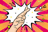Fingers crossed good luck gesture or the lie doubt truth in retro pop art comic style. Vector illustration