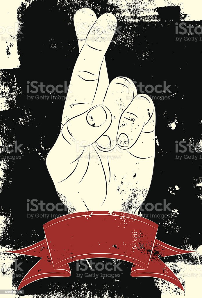 fingers crossed royalty-free stock vector art