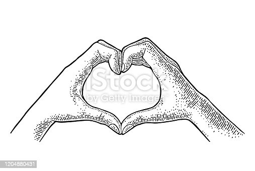 Fingers show heart. Vector black vintage illustration isolated on a white background. For poster valentines day