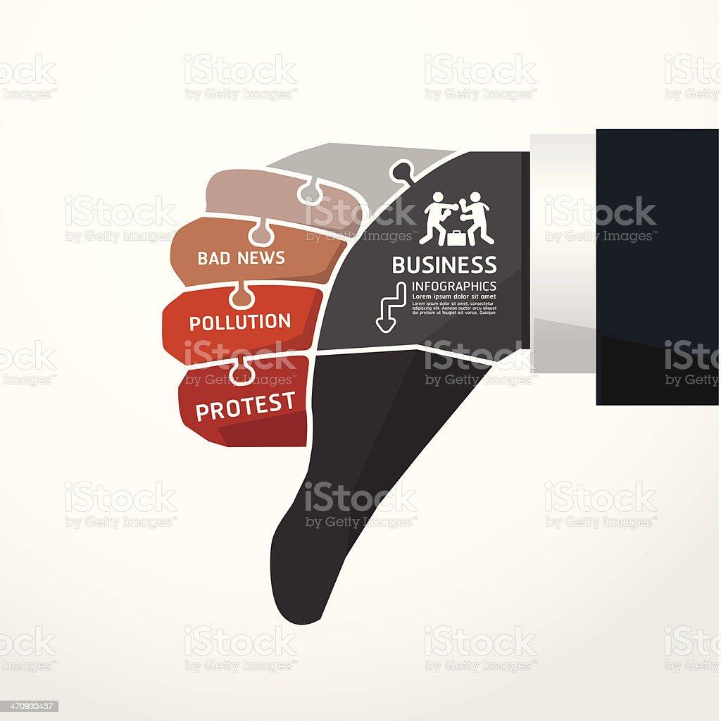 fingers shape bad news  jigsaw banner royalty-free stock vector art