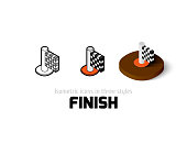Finish icon, vector symbol in flat, outline and isometric style