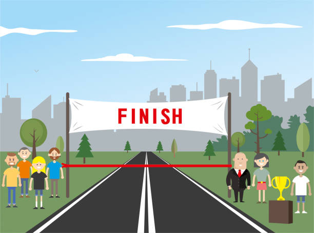Finish line and cup finish line finishing stock illustrations