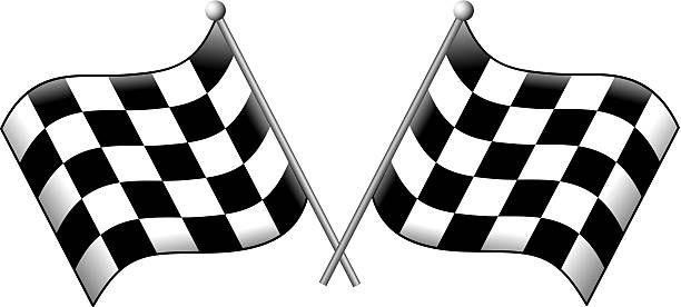 Finish Line Checkered Flags Artwork of overlapping