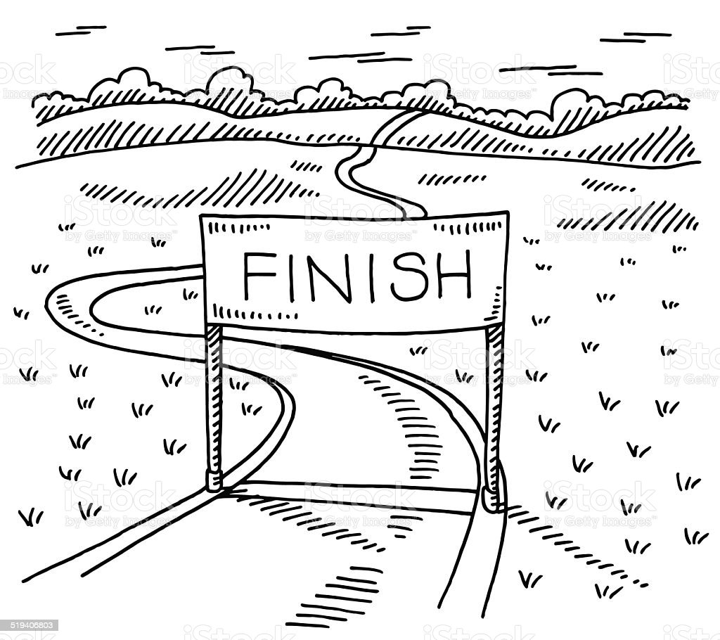 Finish Line Path Landscape Drawing vector art illustration