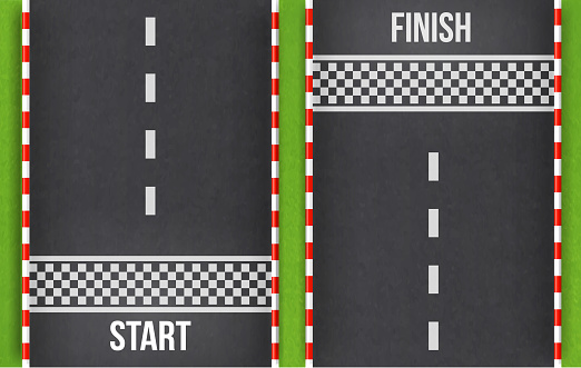 Finish line racing background top view.Start and finish on kart race. Abstract road.Grunge textured on the asphalt road.element for design. vector