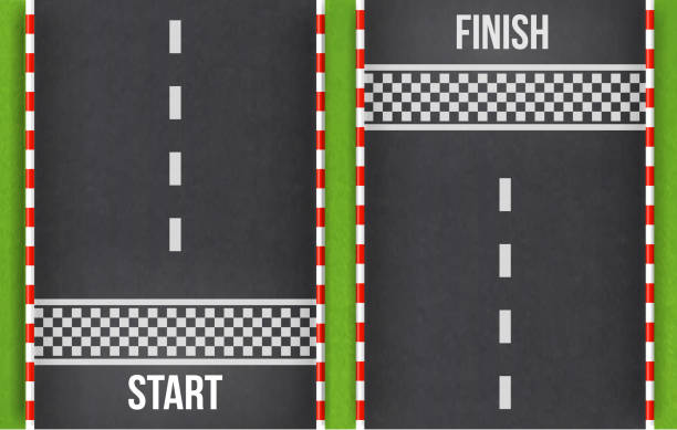 finish line racing background top view.start and finish on kart race. abstract road.grunge textured on the asphalt road.element for design. vector - start stock illustrations