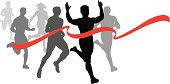 """Finish Line - Runner, Sprinter, Track and Field Race Fitness. Graphic silhouette illustration of a race finish line with ribbon. Check out my """"Fitness, Exercise & Running"""" light box for more."""