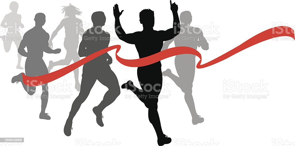 Finish Line - Runner, Sprinter, Track and Field Race Fitness vector art illustration