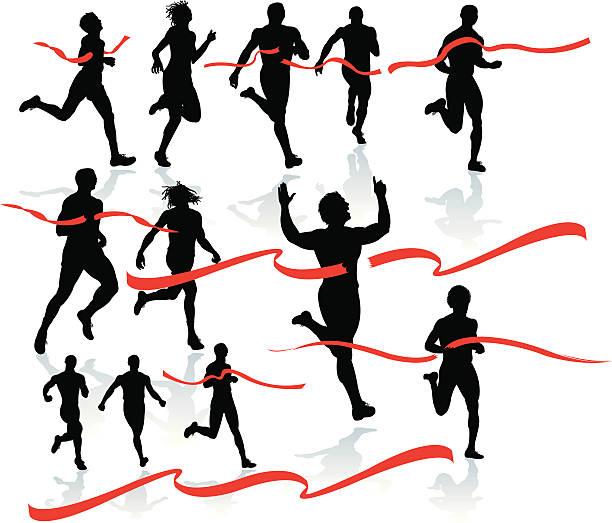 finish line - runner, sprinter, track and field - finish line stock illustrations, clip art, cartoons, & icons