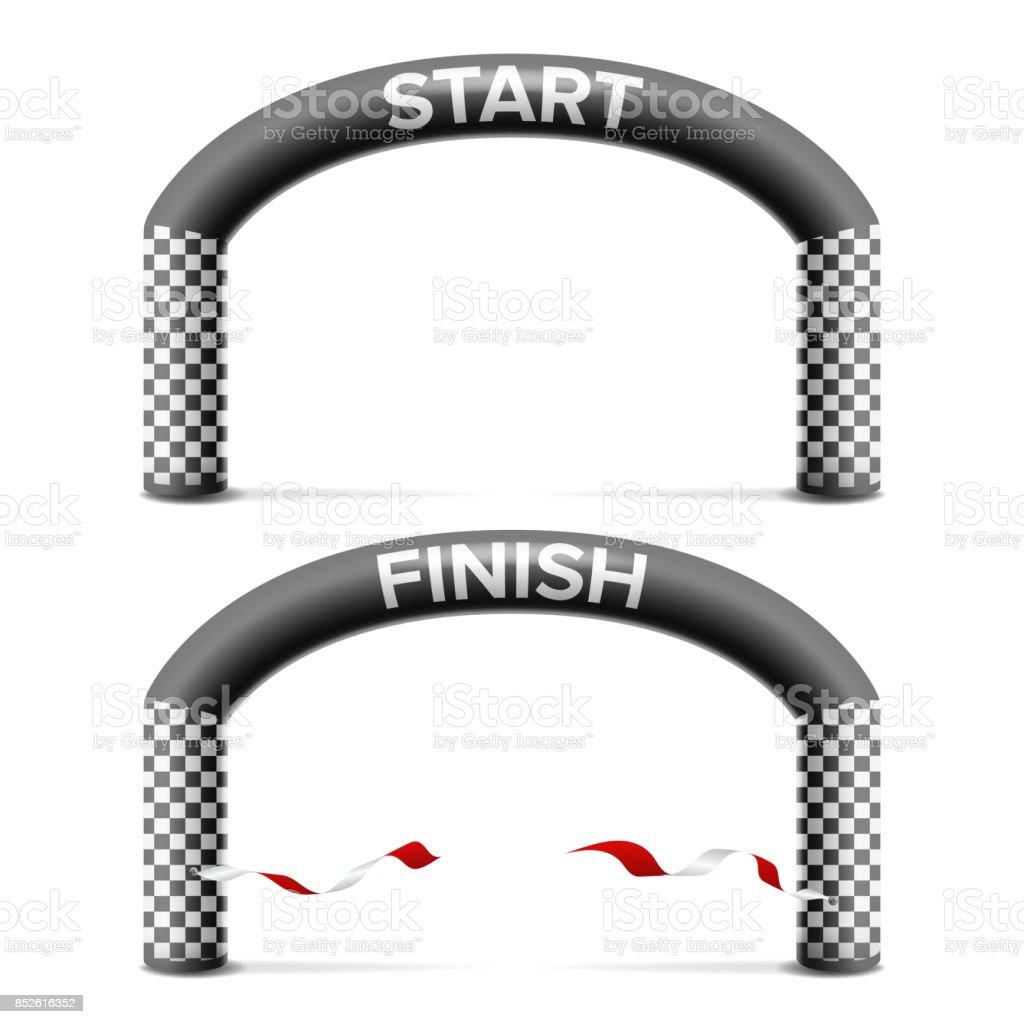 Beenden Sie, starten Sie Linie Bogen isoliert Vektor. Sport-Event. Triathlon, Skifahren, Marathon-Rennen Konzept. Isoliert auf weißem Illustration – Vektorgrafik