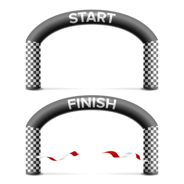 finish, start line arch isolated vector. sport event. triathlon, skiing, marathon racing concept. isolated on white illustration - finish line stock illustrations, clip art, cartoons, & icons