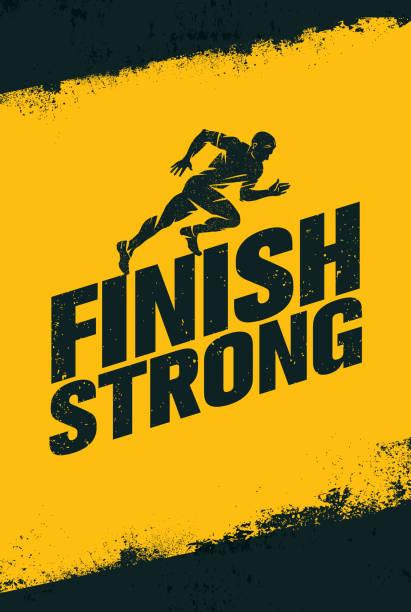 stockillustraties, clipart, cartoons en iconen met finish strong. inspirerende training en fitness gym motivatie citeer illustratie teken. creatieve sterke sport vector - gym
