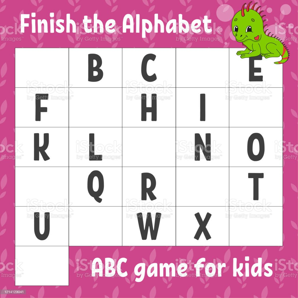 Finish The Alphabet Abc Game For Kids Education Developing Worksheet Green  Iguana Learning Game For Kids Color Activity Page Stock Illustration -  Download Image Now - IStock