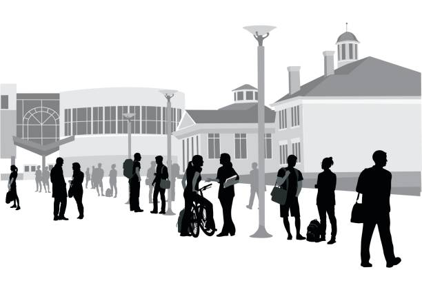 Finished The Semester Silhouette vector illustration of a large group of students on campus campus stock illustrations