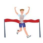 Finishing runner man. Athlete, marathon winner. Vector illustration isolated on white background