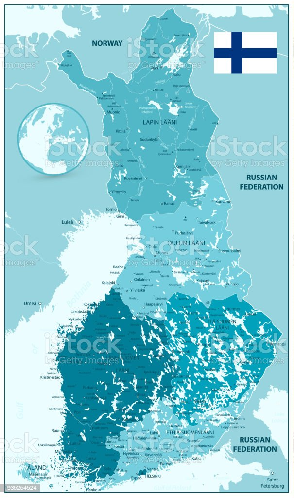 Finland Administrative Map In Shades Of Aqua Blue Colors Stock
