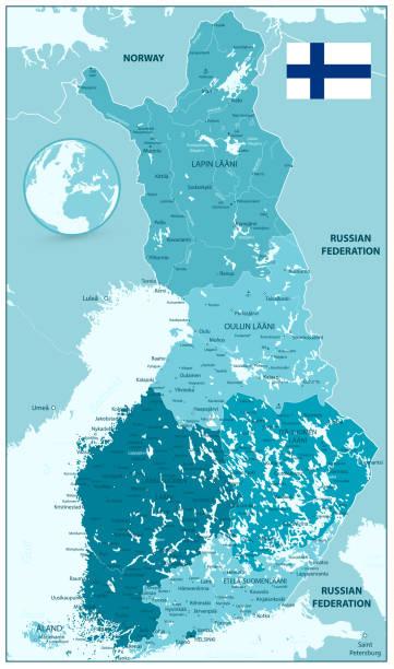 Finland Administrative Map in shades of aqua blue colors vector art illustration