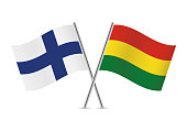 Finland and Bolivia flags. Vector illustration.
