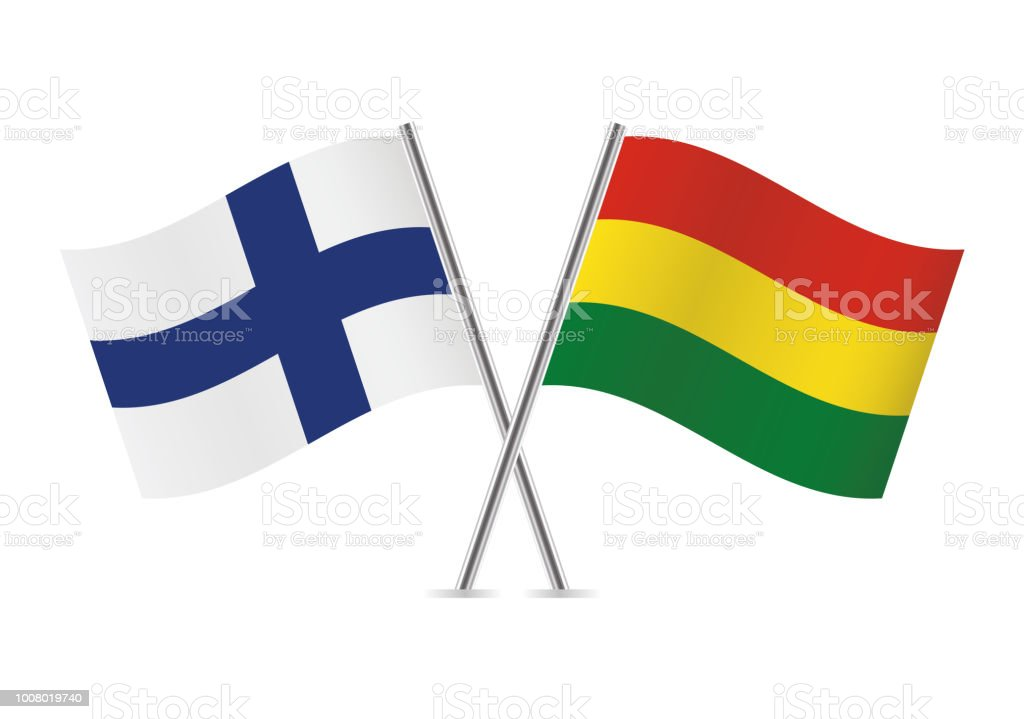 Finland and Bolivia flags. Vector illustration. vector art illustration
