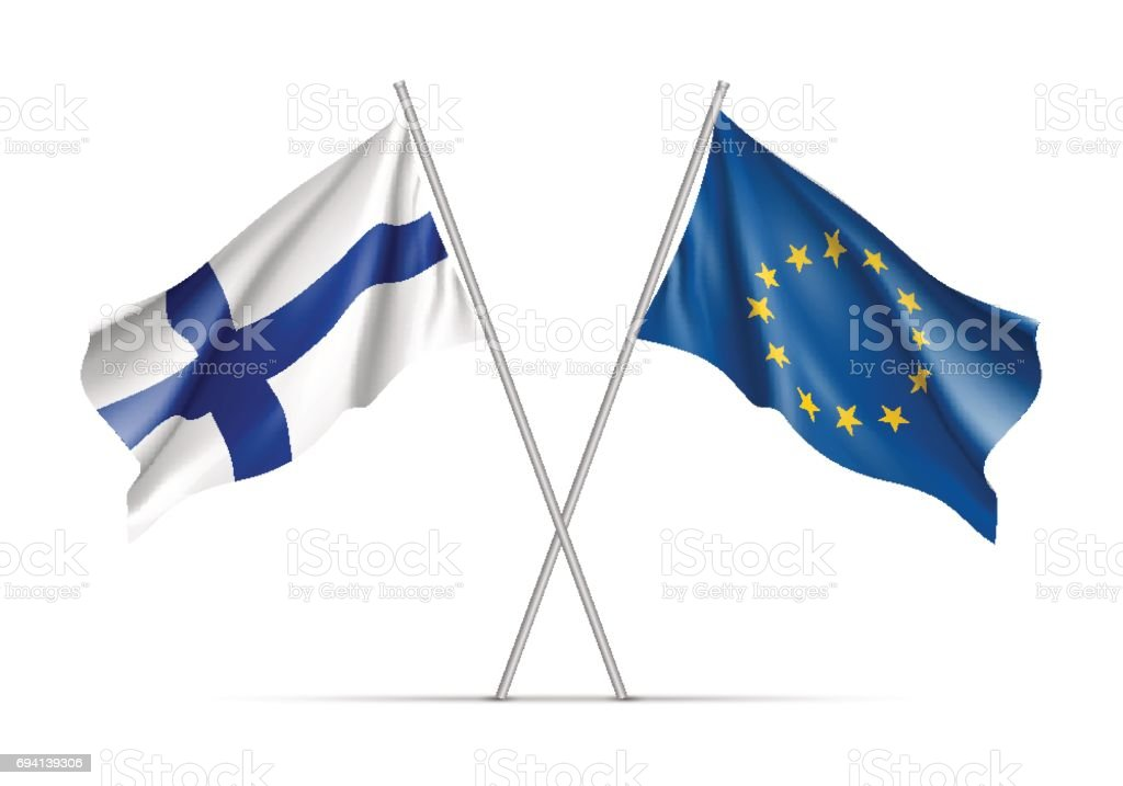 Finland and European Union waving flags vector art illustration