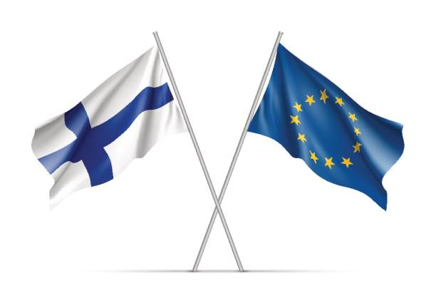 finland and european union waving flags - finnish flag stock illustrations, clip art, cartoons, & icons