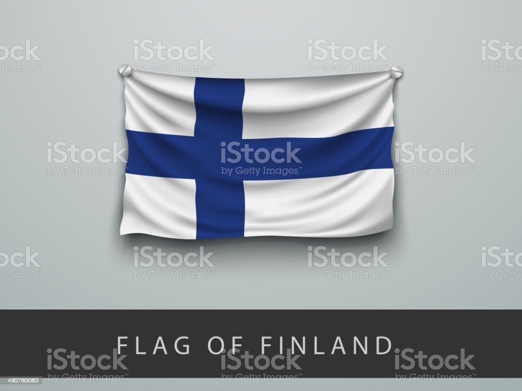 Finland flag battered, hung on the wall vector art illustration