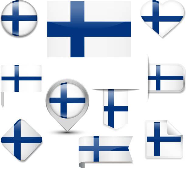 ilustraciones, imágenes clip art, dibujos animados e iconos de stock de bandera de finlandia - bandera finlandesa