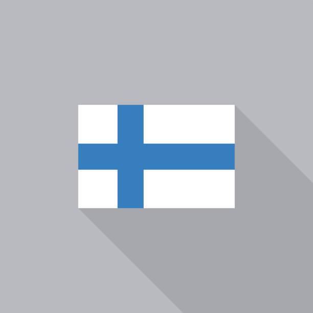 finland flag flat design vector illustration - finnish flag stock illustrations, clip art, cartoons, & icons