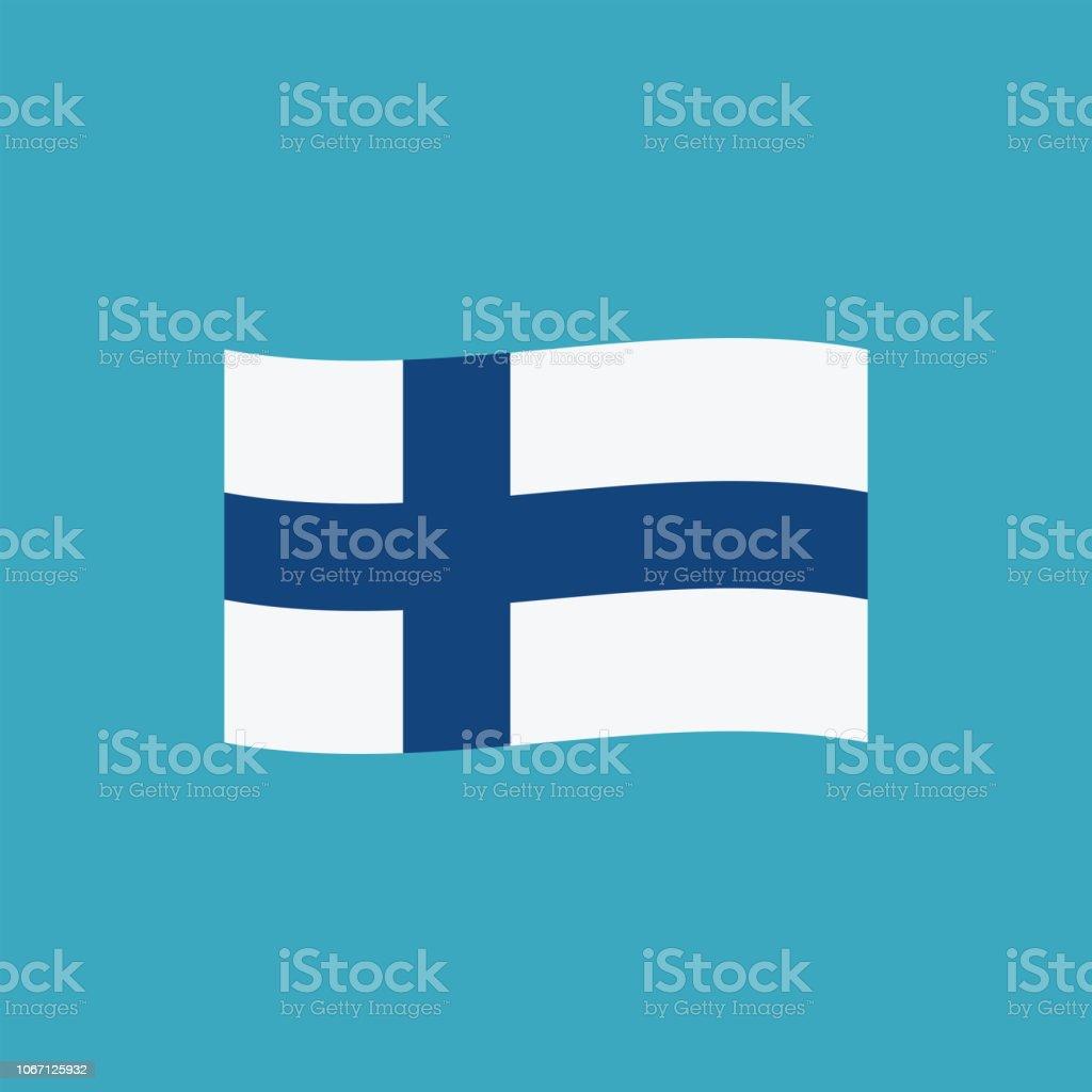 Icono de la bandera de Finlandia en diseño plano - ilustración de arte vectorial