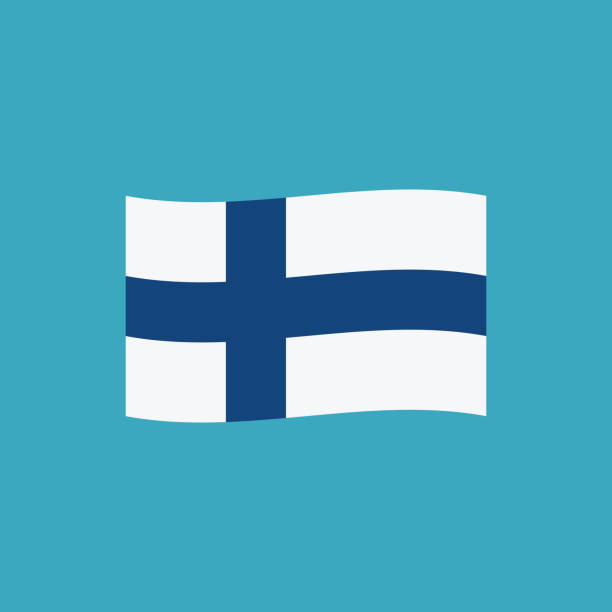 finland flag icon in flat design - finnish flag stock illustrations, clip art, cartoons, & icons