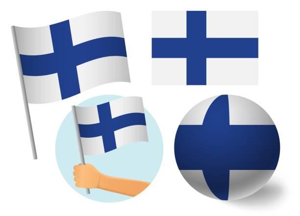 ilustraciones, imágenes clip art, dibujos animados e iconos de stock de conjunto de iconos de bandera de finlandia - bandera finlandesa