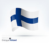 Vector waving flag illustration of Finland for international dialogue and conflict management.