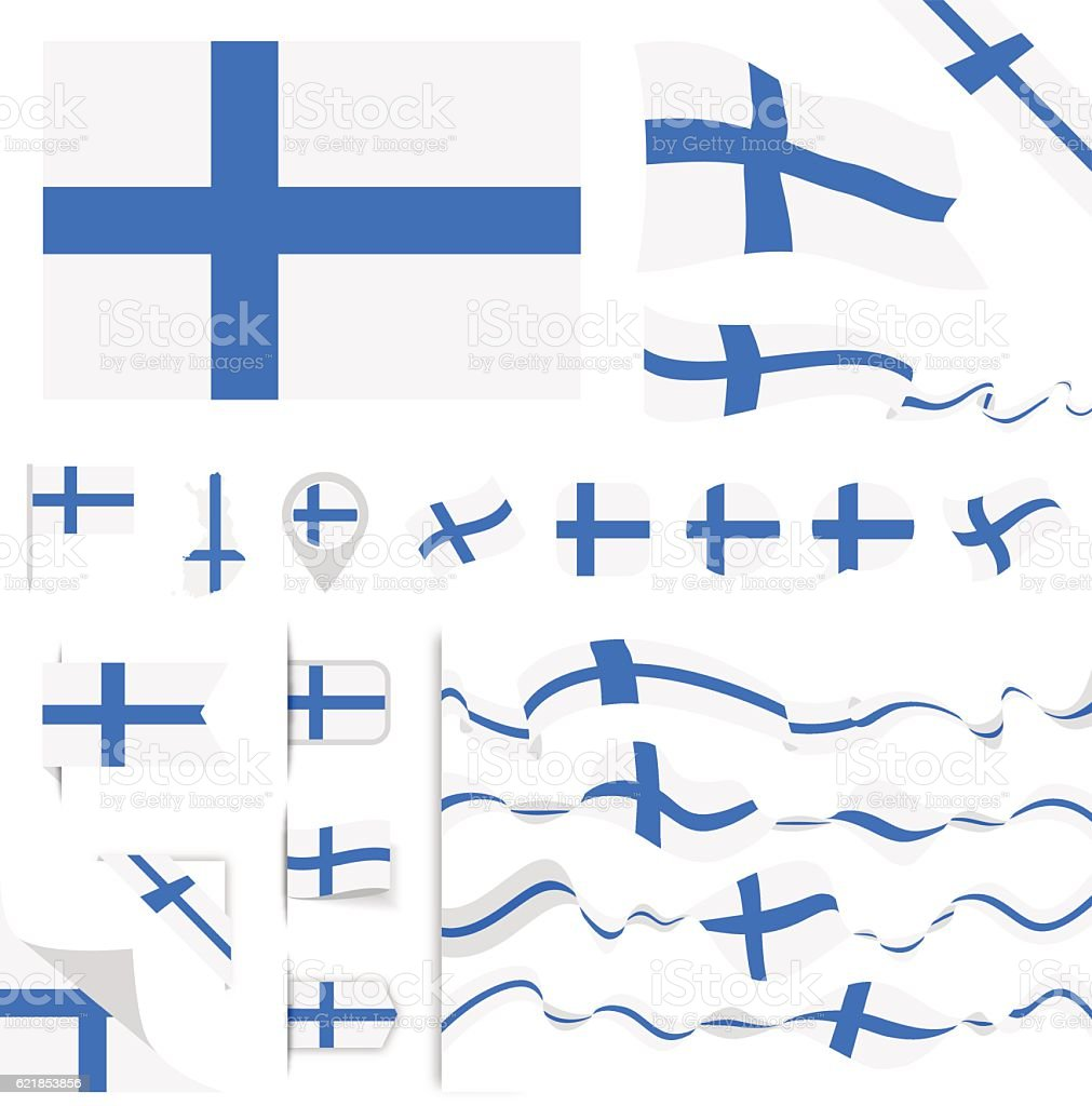 Finland Flag Set vector art illustration