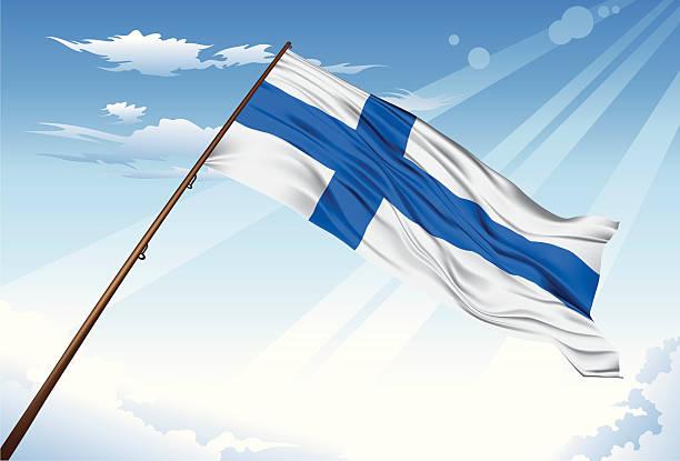 ilustraciones, imágenes clip art, dibujos animados e iconos de stock de bandera finlandesa - bandera finlandesa