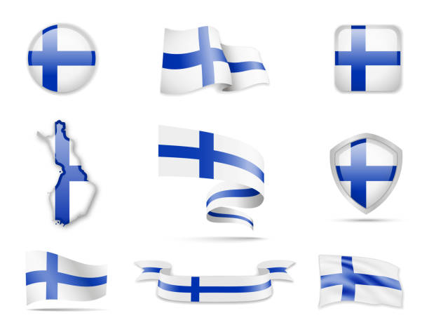 finland flags collection. flags and contour map. - finnish flag stock illustrations, clip art, cartoons, & icons