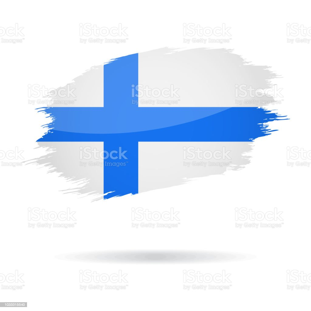 Finland - Grunge Flag Vector Glossy Icon vector art illustration