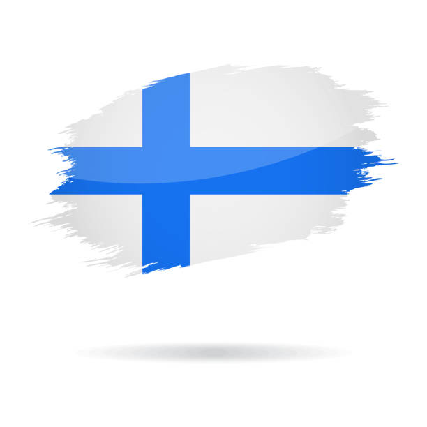 finland - grunge flag vector glossy icon - finnish flag stock illustrations, clip art, cartoons, & icons