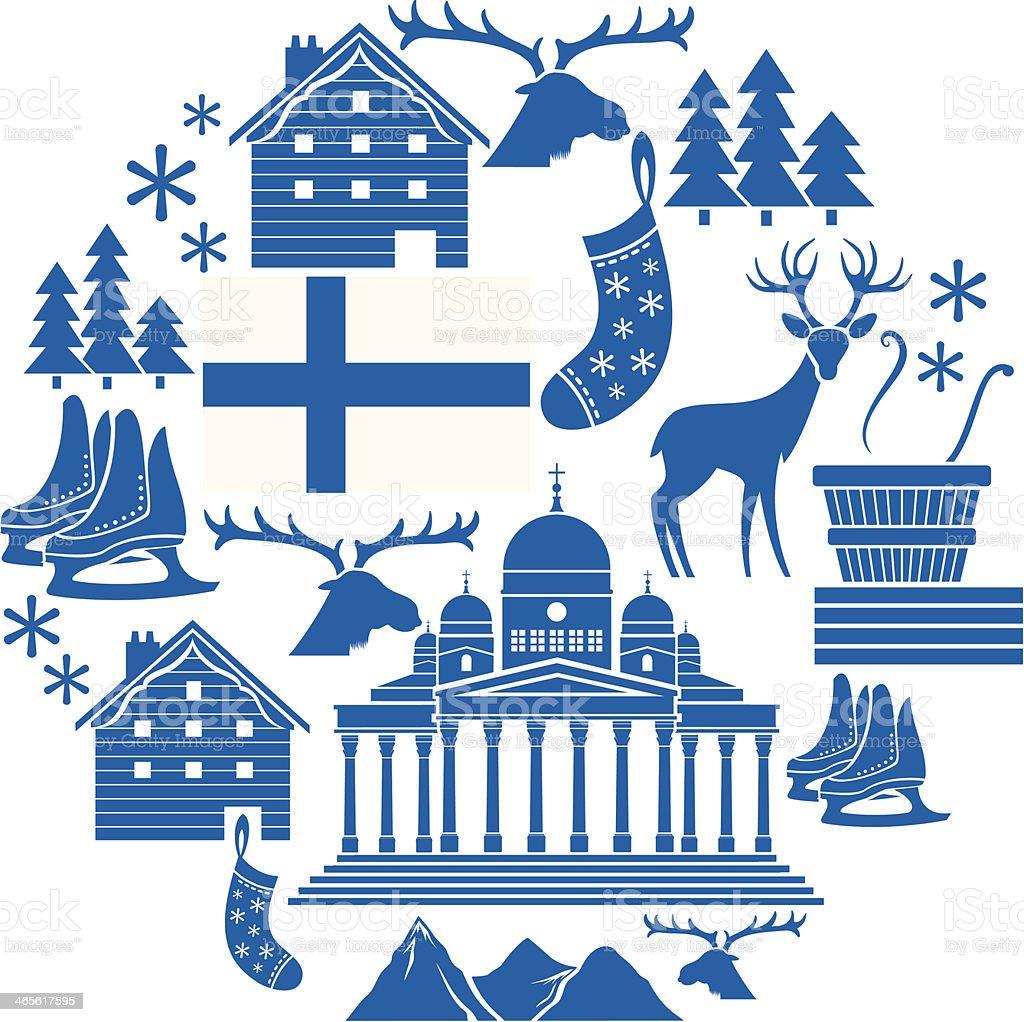 Finland Icon Set vector art illustration