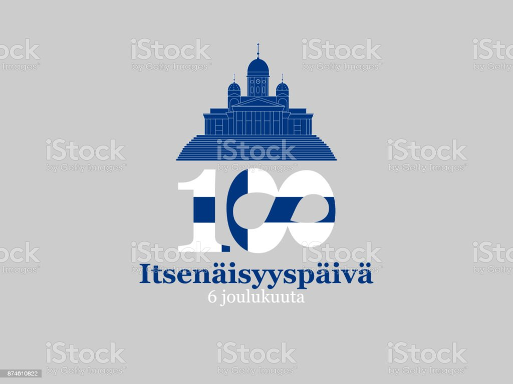 Finland, Independence Day greeting card. Translation from Finnish: December 6, Independence Day vector art illustration