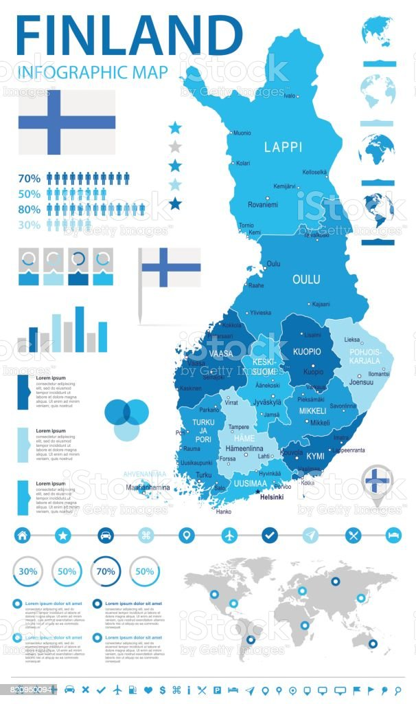 Finland Infographic Map And Flag Illustration Stock Vector Art
