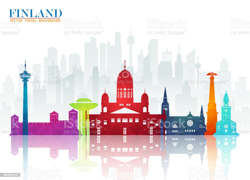Finland Landmark Global Travel And Journey Paper Background Vector Design Templateused For Your